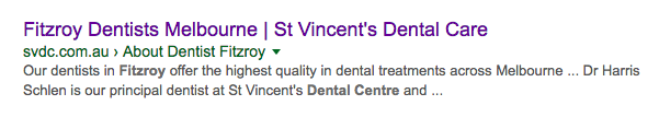 Fitzroy Dentist Search Snippet